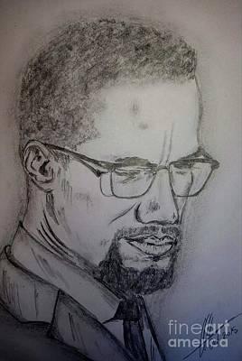 Malcolm X Art Drawing - Malcolm X by Collin A Clarke