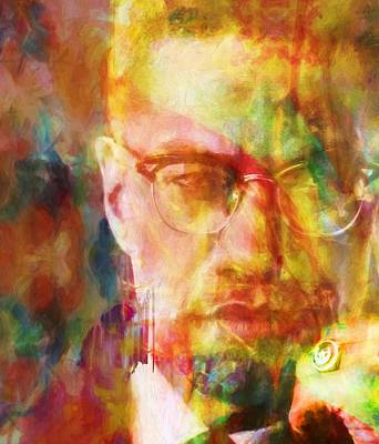 Icon Mixed Media - Malcolm X by Dan Sproul