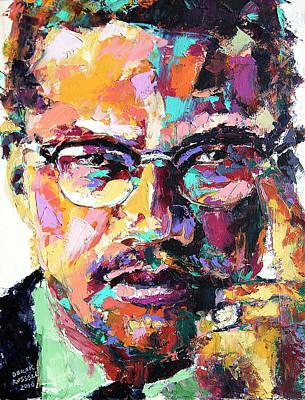 Derek Russell Wall Art - Painting - Malcolm X by Derek Russell