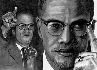 Malcolm X Wall Art - Drawing - Malcolm X by Gil Fong