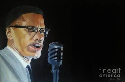 Malcolm X Painting - Malcolm X by Jason Majiq Holmes
