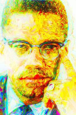 Malcolm X Painted Digitally 2 Art Print by David Haskett