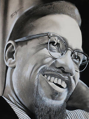 Malcolm X Smiling Original by Marvin Ryan