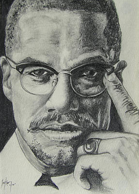 Drawing - Malcolm X by Stephen Sookoo