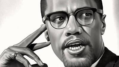 Malcolm X Drawing Art Print by Jovemini ART