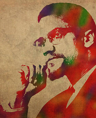 Malcolm X Wall Art - Mixed Media - Malcolm X Watercolor Portrait by Design Turnpike
