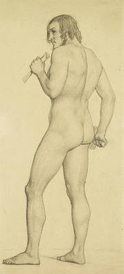 Male - Academic Nude Study Posed As A Sculptor Art Print by Ford Madox Brown