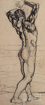 Nude Wall Art - Drawing - Male Act   Study For The Truth by Ferdninand Hodler