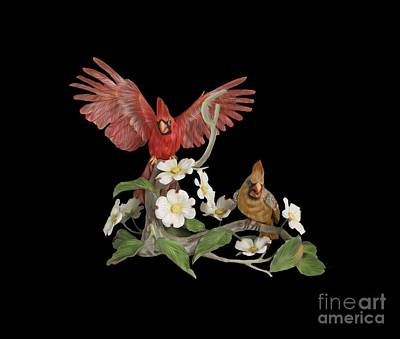 Digital Art - Male And Female Cardinals  by Walter Colvin