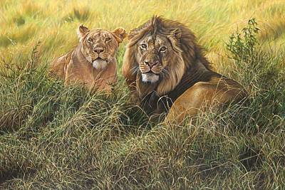 Painting - Male And Female Lion by Alan M Hunt