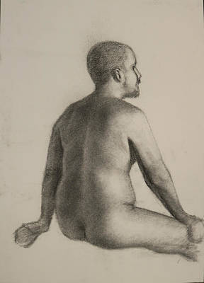 Male Nude Drawing Drawing - Male Back  by Heather Olsen