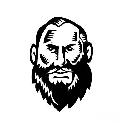 Male Big Beard Woodcut Print by Aloysius Patrimonio
