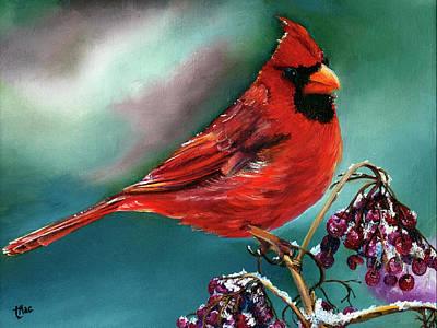 Male Cardinal And Snowy Cherries Art Print