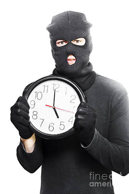Male Criminal In Mask Holding A Clock Art Print by Jorgo Photography - Wall Art Gallery