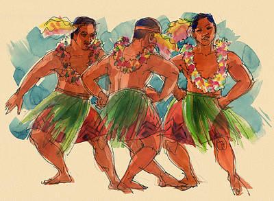 Tongan Painting - Male Dancers Of Lifuka, Tonga by Judith Kunzle