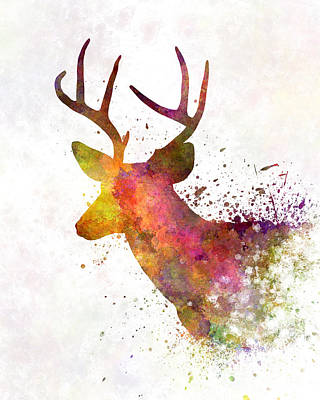 Abstract Deer Painting - Male Deer 02 In Watercolor by Pablo Romero
