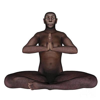 Indigenous Culture Digital Art - Male Homo Erectus Sitting In Meditation by Elena Duvernay