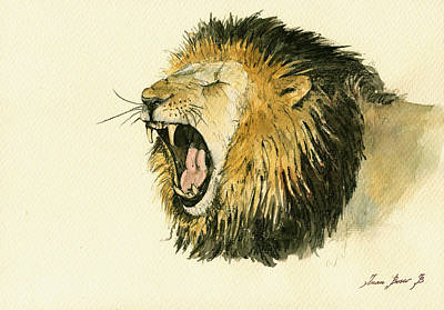 Lion Illustrations Painting - Male Lion Head Painting by Juan  Bosco