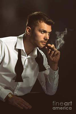 Male Model Smoking Cigar Art Print