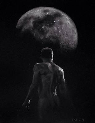 Male Nude Drawing Drawing - Male Nude 16. Moonwalker. by Tai Lin