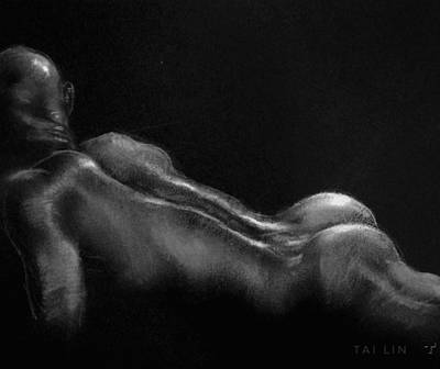 Male Nude Drawing Drawing - Male Nude 19. by Tai Lin