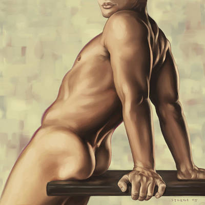 Torso Painting - Male Nude 2 by Simon Sturge