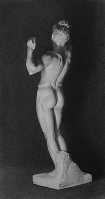 Drawing - Male Nude Cast Drawing by Dee Dee Whittle