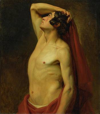 Red Drape Painting - Male Nude In A Red Drape by MotionAge Designs