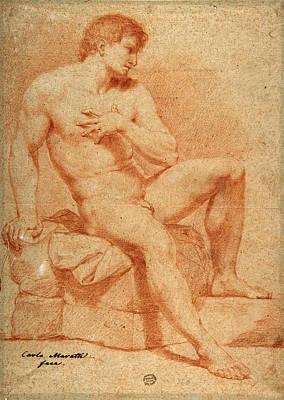 Drawing - Male Nude In Terracotta by Carlo Maratti