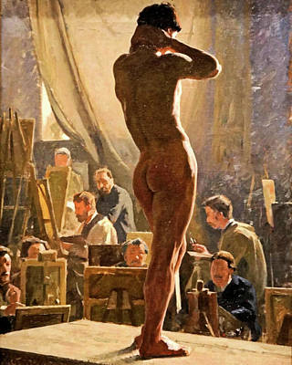Painting - Male Nude In The Studio Of Bonnat by Lauritis Tuxin