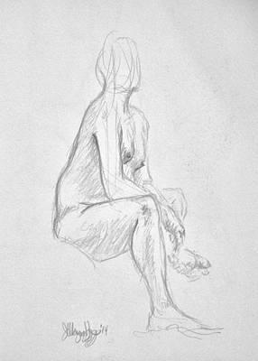 Male Nude Drawing Digital Art - Male Nude Life Drawing Of Adam 2014 by Wayne Higgs