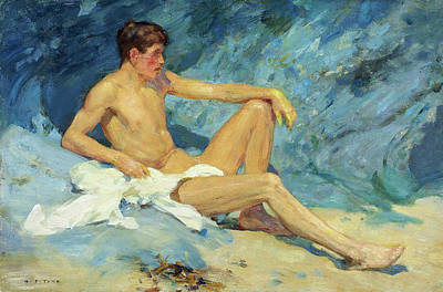 Painting - Male Nude Reclining On Rock by Henry Scott Tuke
