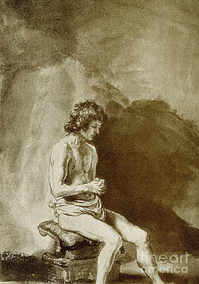 Rembrandt Harmensz Van Rijn Drawing - Male Nude by Rembrandt Harmensz van Rijn