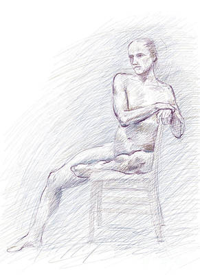 Drawing - Male Nude Seated Sideways On Chair by Adam Long