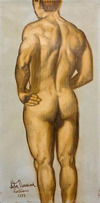 Male Nude Self Portrait By Victor Herman Art Print by Joni Herman