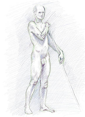 Drawing - Male Nude Standing With Wooden Pole Digital Drawing by Adam Long