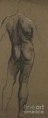 Etching Painting - Male Nude Study by Evelyn De Morgan