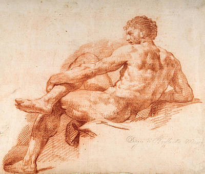 Drawing - Male Nude Study by Giovanni Battista Lombardi