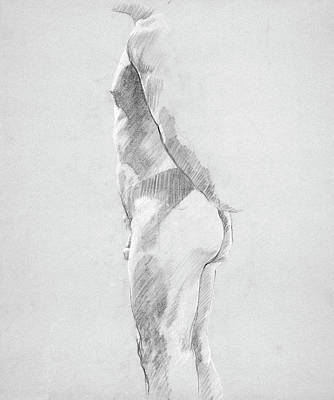 Male Nude Drawing Drawing - Male Nude Study by Tom Thomas