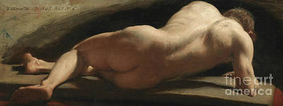 Agony Painting - Male Nude by William Frederick Witherington