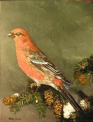 Painting - Male Pine Grosbeak by Betty-Anne McDonald