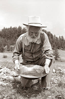 Working Cowboy Photograph - Male Prospector Panning For Gold by H. Armstrong Roberts/ClassicStock