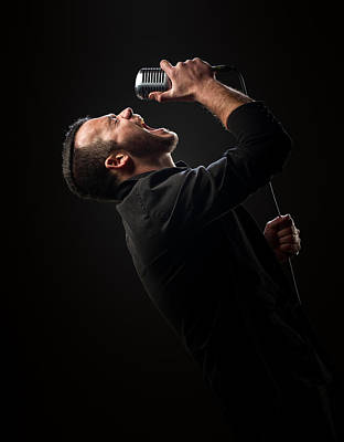 Clothing Photograph - Male Singer Singing In Mic by Johan Swanepoel