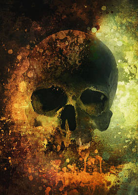 Digital Art - Male Skull - Warm Version by Jaroslaw Blaminsky