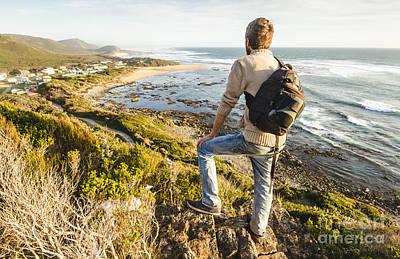 Male Tourist Travelling West Coast Tasmania Art Print by Jorgo Photography - Wall Art Gallery