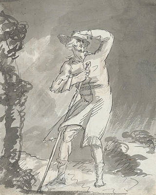 Drawing - Male Traveler In A Storm by Treasury Classics Art