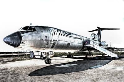 Mixed Media - Malev Airlines Tupolev Tu-154 Art by David Pyatt
