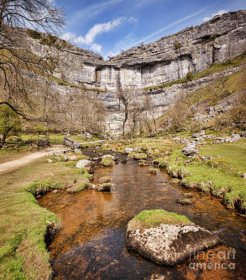 Photograph - Malham Cove And Malham Beck, Yorkshire Dales National Park by Colin and Linda McKie