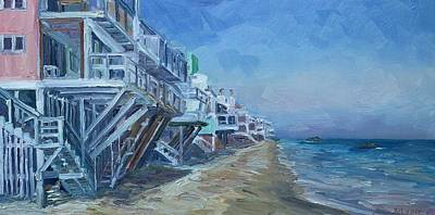 Malibu Painting - Malibu Beach Houses by John Kilduff