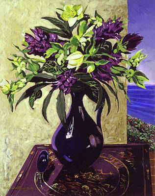 Floral Arrangement Painting -  Malibu Hyacinths In Deep Blue Blue  Ceramic by David Lloyd Glover